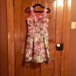 Colorful New York and Company cocktail dress.